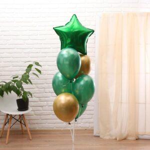 Букет из шаров «С праздником», набор 7 шт., цвет зелёный, золото (без гелия) 54472