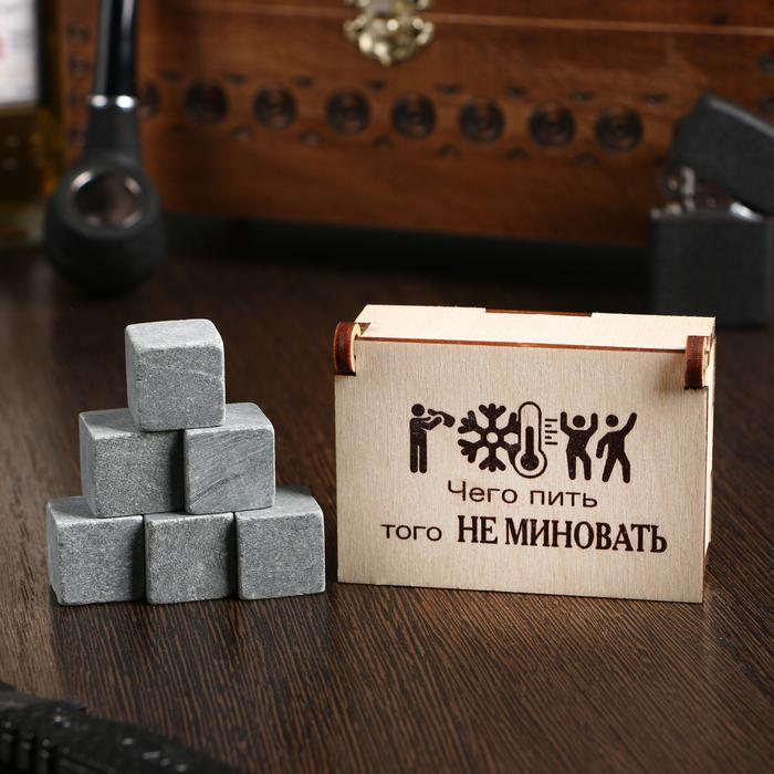 """Камни для виски """"Чего пить того не миновать"""", в шкатулке, 6 шт 56047"""