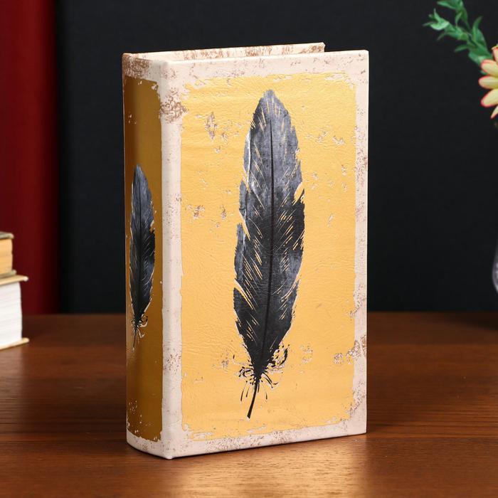 "Сейф-книга дерево кожзам ""Перо на золоте"" 56129"