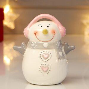 Снеговичок в розовых наушниках, с пуговками-сердцами 53957