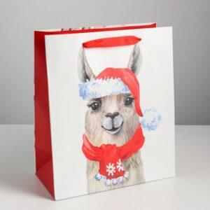 Пакет «Новогодняя лама» 23 × 27 × 11,5 см 53988