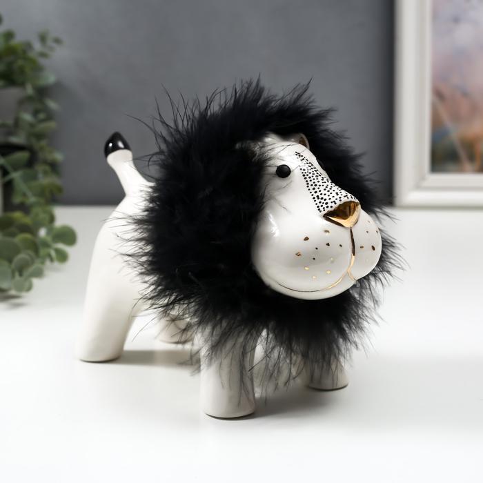 Лев с пуховой гривой бело-чёрный с золотом 56124