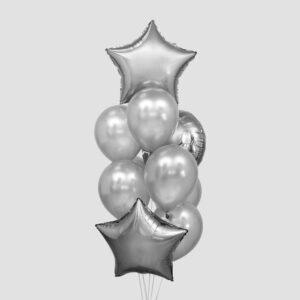 Букет из шаров «Стиль», звезда, круг, латекс, фольга, набор 10 шт. (без гелия) 54364