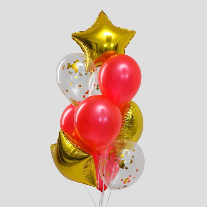 Букет из шаров «Золотая любовь», сердце, звезда, фольга, латекс, набор 10 шт. 56146
