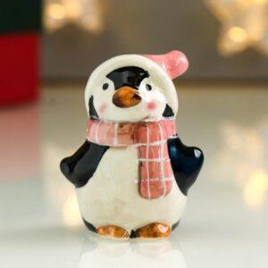 Пингвин Лоло в розовом новогоднем колпаке и шарфике 54020