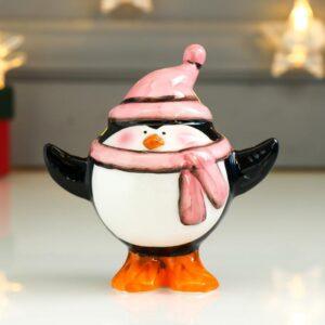 Пингвин-пузан в розовом колпаке и шарфике 54021