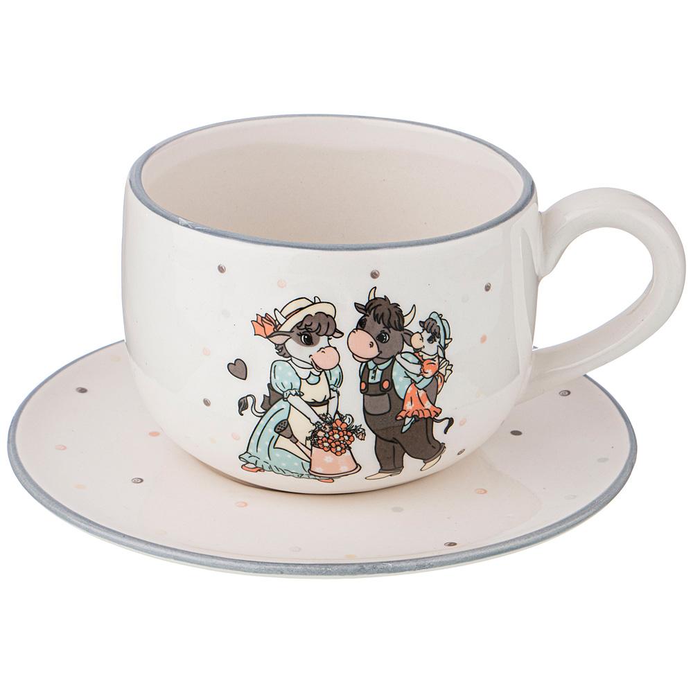 """Чайный набор на 1 персону 2 предметов """"муу. Ля мур"""" 420 мл. символ года 2021 53502"""