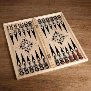 Фишки для игры в нарды, дерево, d=2 см,набор 30 шт + 2 кубика 4922388 56119