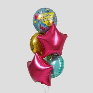 """Букет из фольгированных шаров """"С днем рождения. Диско"""" набор 5 шт 56133"""