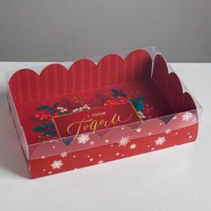 Коробка подарочная с прозрачной крышкой «С Новым годом», 20 × 30 × 8 см 57744