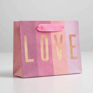 Пакет крафтовый LOVE, S 15 × 12 × 5.5 см 56626