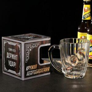 """Кружка """"Непробиваемая"""" 3 пули, для пива , 500 мл 54810"""