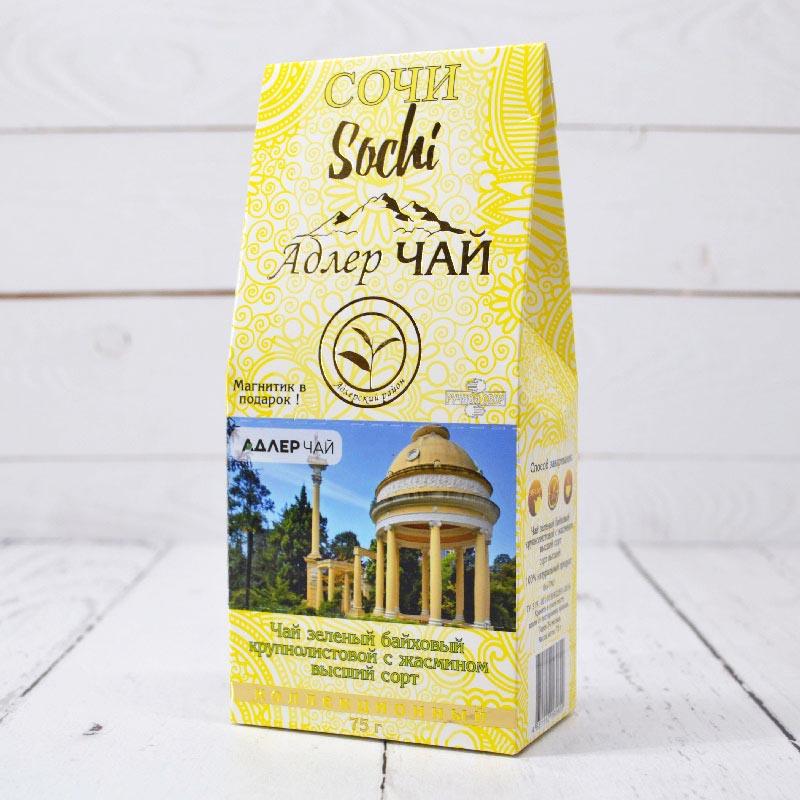 Чай зеленый крупнолистовой с жасмином 75 г. Адлер Чай 53276