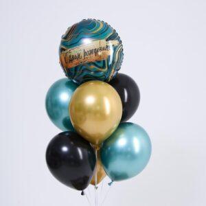 Набор шаров «С днём рождения», мрамор, фольга, латекс, набор 7 шт. (без гелия) 54330