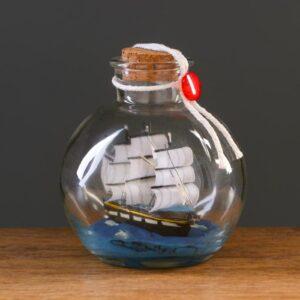 Корабль сувенирный, в бутылке, вертикальн. 10*12см 55627