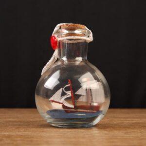 Корабль сувенирный, в бутылке, вертикальн. 9*7см 55628