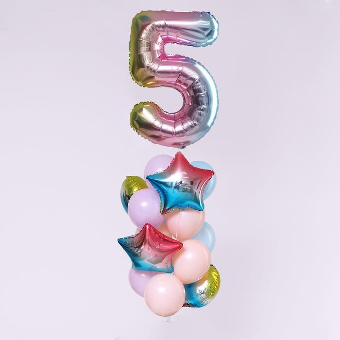 """Букет из шаров """"День рождение - нежность. 5 лет"""", фольга, латекс, набор 7  шт 56140"""