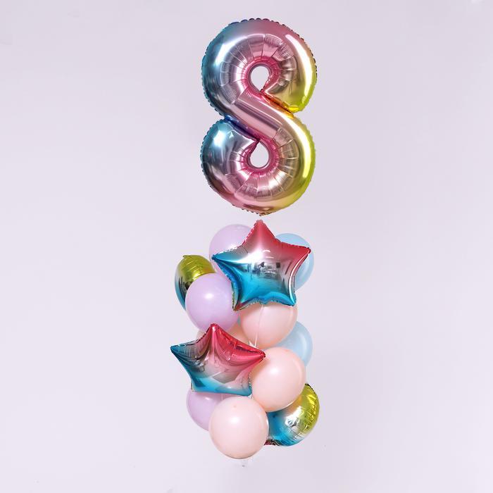 """Букет из шаров """"День рождение - нежность. 8 лет"""", фольга, латекс, набор 7  шт 56143"""