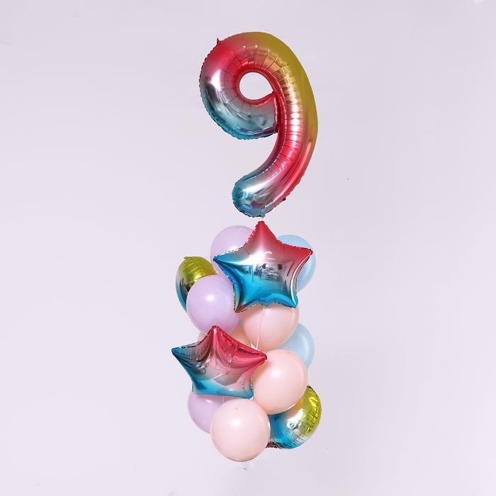 """Букет из шаров """"День рождение - нежность. 9 лет"""", фольга, латекс, набор 7  шт 56144"""