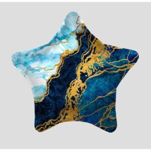 """Шар фольгированный 19"""" «Синий мрамор», звезда, 1 шт., в упаковке  54402"""