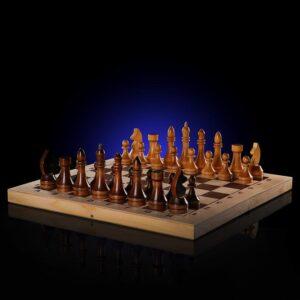 Шахматы гроссмейстерские (доска дерево 43х43 см, фигуры дерево, король h=10.6 см) 57163