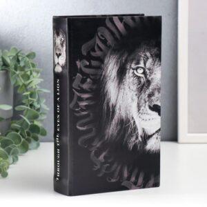 """Сейф-книга дерево, кожзам """"Лев. Through the eves of a lion"""" 21х13х5 см 57959"""