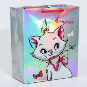 "Пакет голография ""Bonjour"", Коты Аристократы, 25 х 21 х 10 см   57056"