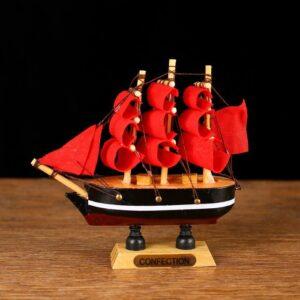 Корабль «Трёхмачтовый», борта с белой полосой, паруса алые 52407