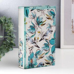 """Сейф-книга дерево кожзам """"Голубые птички и зелёные цветы"""" 21х13х5 см 57960"""