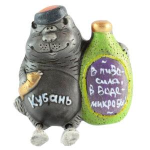 Магнит кот с бутылкой Кубань с ножками 15341