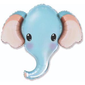 """Шар фольгированный 30"""" «Голова слона», фигура, цвет голубой 56225"""