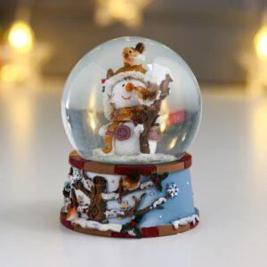 """Водяной шар """"Снеговичок со скворечником"""" d=6,5 см 57713"""