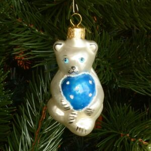 Игрушка на ёлку Медведь с шаром микс (стекло) 50939