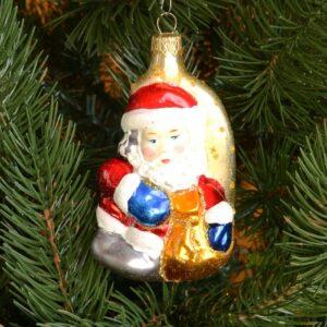 Игрушка на ёлку Дед мороз на месяце (стекло) 51104