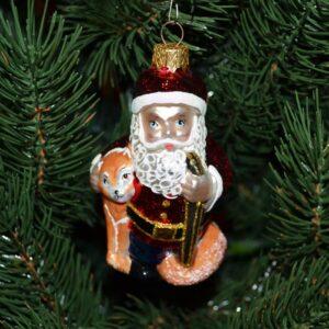 Игрушка на ёлку Дед мороз с лисой (стекло) 51250