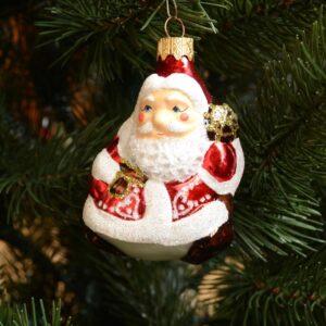 Игрушка на ёлку Дед Мороз с посохом (стекло) 51817