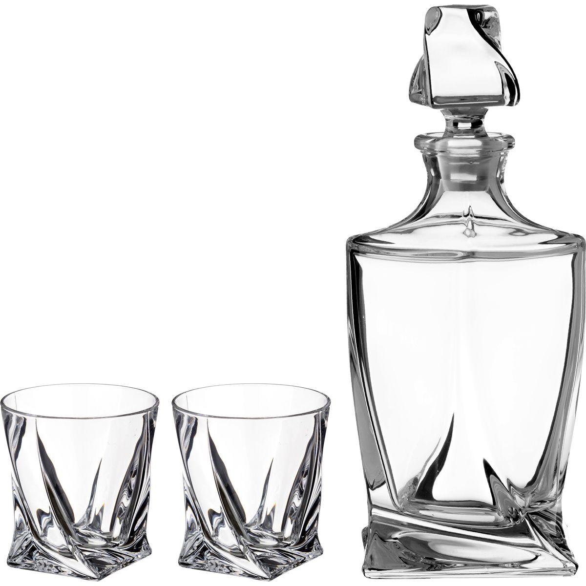 "Набор для виски ""КВАДРО"" 3 пр. Штоф + 2 стакана 850/400 мл. 47260"