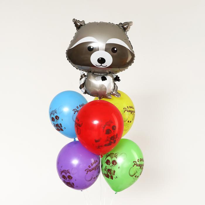 Букет из шаров «Лесные животные. Енот», латекс, фольга, набор 6 шт. 56149