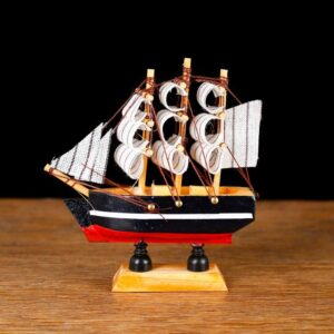Корабль «Трёхмачтовый», борта синие с белой полосой, паруса белые 52416