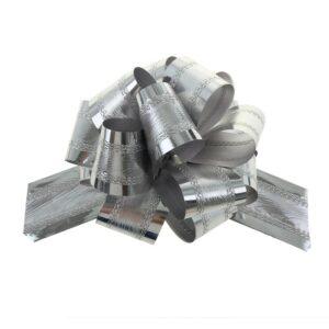 Бант-шар №5 полоска, серебро 57054