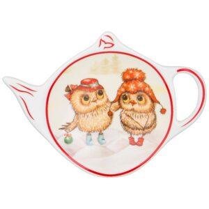 """Подставка для чайного пакетика Lefard """"Новогодняя сказка"""" совы красная 57667"""