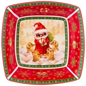 """Салатник lefard """"Новогодняя сказка"""" совы 15,5х15,5х5 см красный 57670"""
