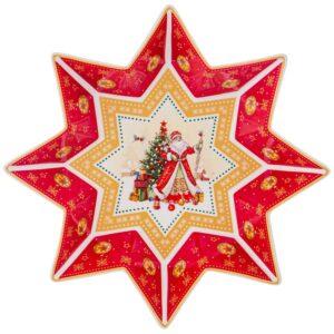"""Блюдо-звезда lefard """"Дед мороз"""" 26х5см красное 57678"""