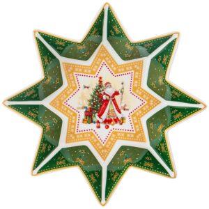 """Блюдо-звезда lefard """"Дед мороз"""" 17х4 см зеленое 57679"""