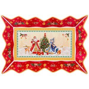 """Блюдо lefard """"Дед мороз и снегурочка""""фигурное 25х15х3,5см  красное 57681"""