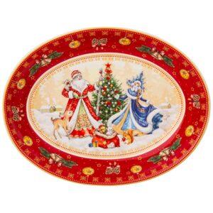 """Блюдо lefard """"дед мороз и снегурочка"""" овальное 25х19,5х4,5см красное 57685"""