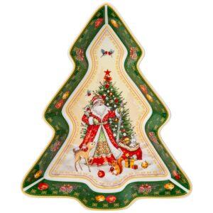"""Блюдо-елка lefard """"Дед мороз"""" 25х21х4 см зеленое 57690"""