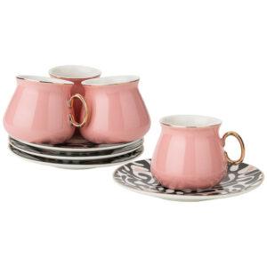 Кофейный набор 4 персоны 8 предметов 90мл, розовый 53672