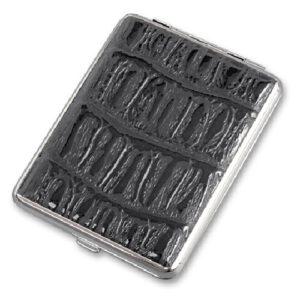 Портсигар S.Quire, сталь+искусственная кожа, черный цвет с рисунком 56436