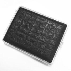 Портсигар S.Quire, сталь+натуральная кожа, чёрный  цвет с рисунком, 74*95*18 мм 56418